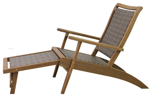 Brown Wicker And Eucalyptus Lounger With Built In Ottoman