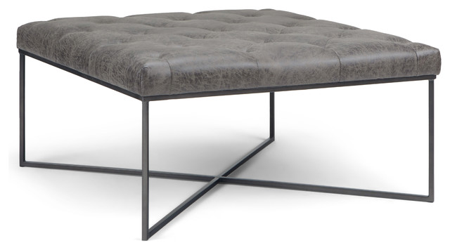 Distressed Leather Ottoman Coffee Table.Portman Square Coffee Table Ottoman Distressed Black Faux Air Leather
