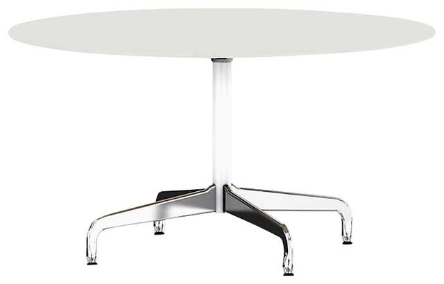 "Eames Round Table By Herman Miller, Segmented Base, Studio White Laminate, 54""."