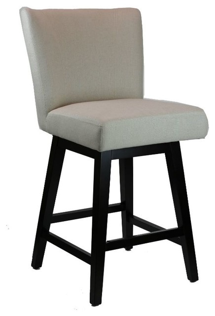 Swivel Counter Stool With Back In Neutral Linen Fabric.