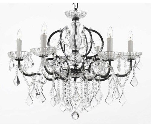 Gallery T40188 19Th C Rococo 6 Light 1 Tier Crystal Candle Style – Victorian Style Chandeliers