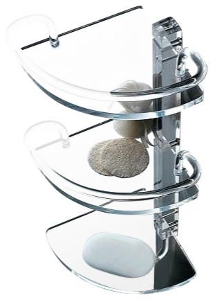 Plexiglass Triple Corner Bathroom Shelf With Plexiglass Railing And Robe  Hook Contemporary Bathroom Cabinets