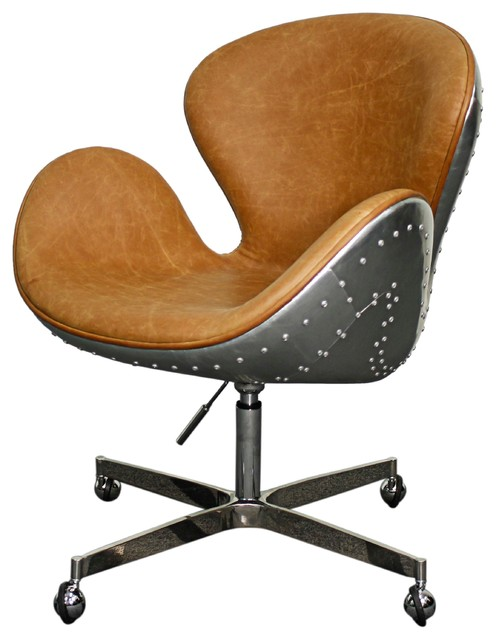 Duval Swivel Office Chair, Distressed Caramel by New Pacific Direct Inc.