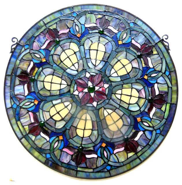 Chloe Lighting Stained Glass Baroque Window Panel Craftsman