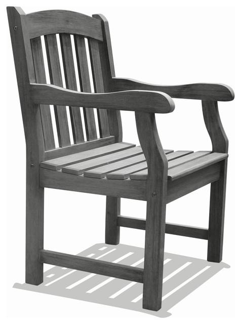 Vifah Renaissance Hand-scraped Acacia Slatted Back and Seat Outdoor Armchair