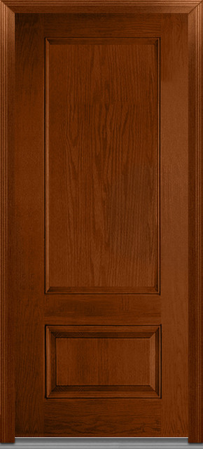 Severe Weather 2-Panel Fiberglass Entry Door, Warm Chestnut, Rh Outswing.