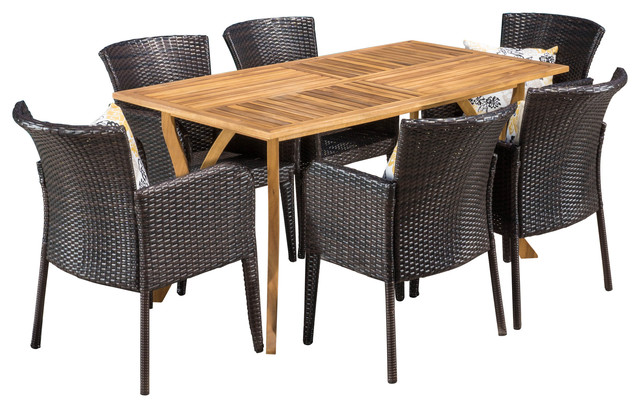 Helton Outdoor Dining, Wood Table With Wicker Chairs 7-Piece Set.