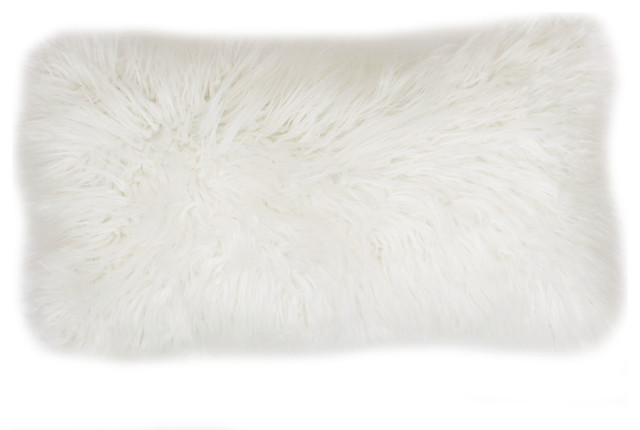 "12""x20"" Keller Faux Mongolian Reverse To Micromink Pillow, Bright White."