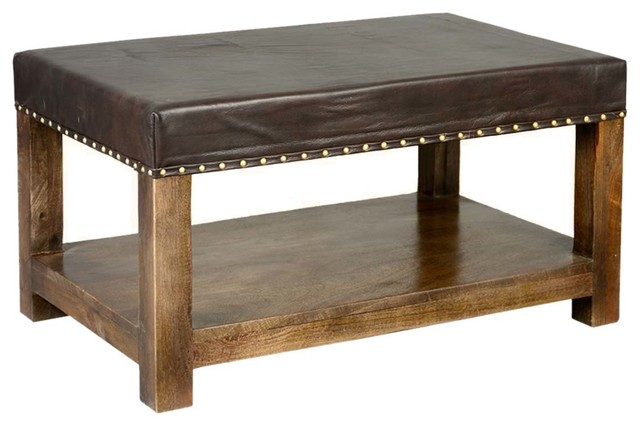 Solid Wood Espresso Leather Upholstered 2 Tier Coffee Table Ottoman Rustic  Coffee Tables