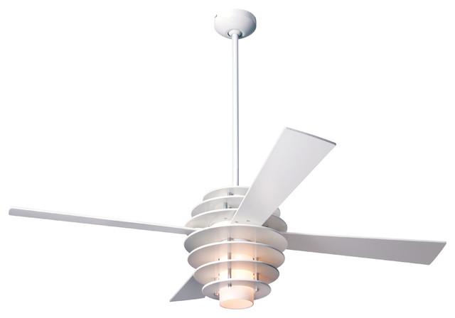 Modern Fan Stella Led-Light White/gloss White 52 Ceiling Fan W/ Remote Control.