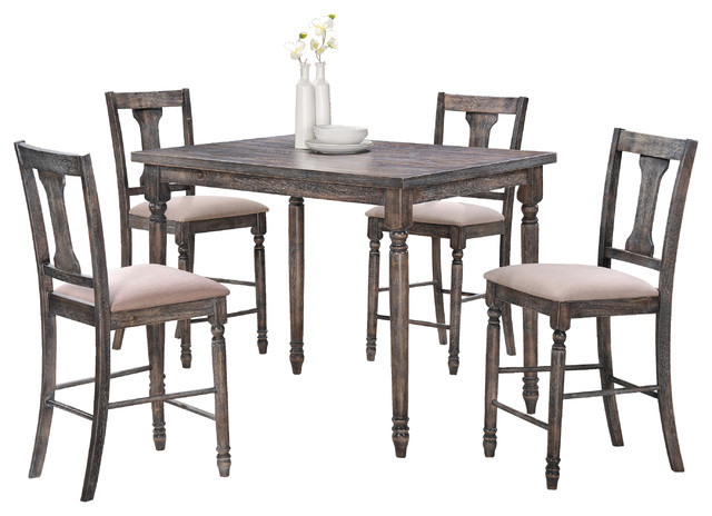 Demi Smoked Gray Counter Height 5-Piece Set.