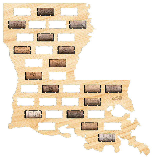 Louisiana Wine Cork Map Contemporary Wall Accents by