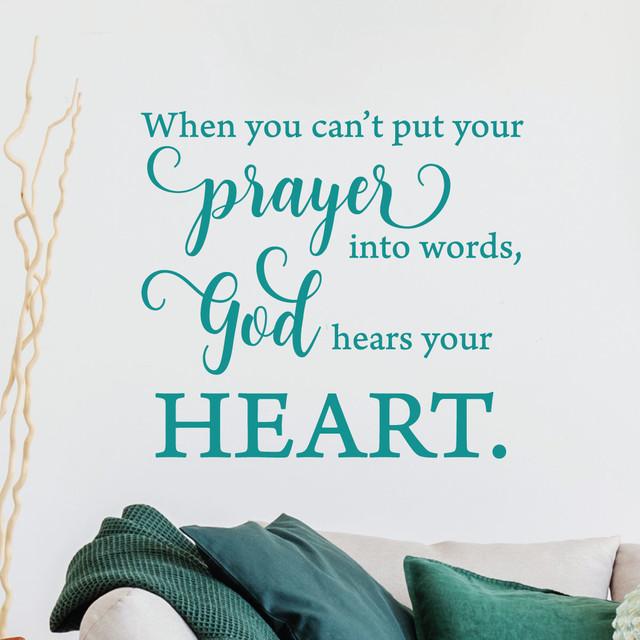 God Hears Your Heart Faith Prayer Religious Wall Quotes Decal