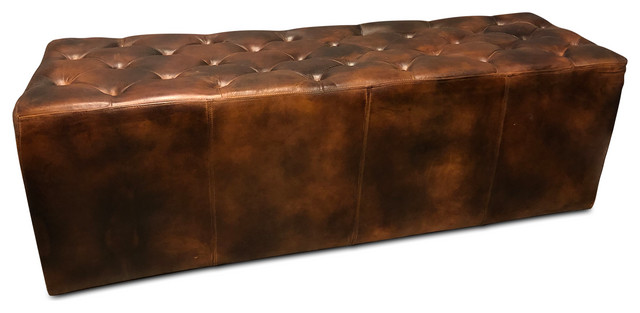 Brown Tufted Leather Dining Or Casual Bench 60 Distressed Leather Transitional Dining Benches By Rustic Deco