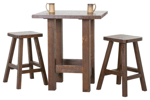 3 Pc Barnwood Pub Table Set Dark Contemporary Indoor