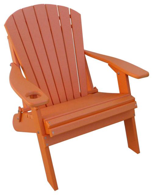 Poly Adirondack Oversized Big Boy Chair, Orange.