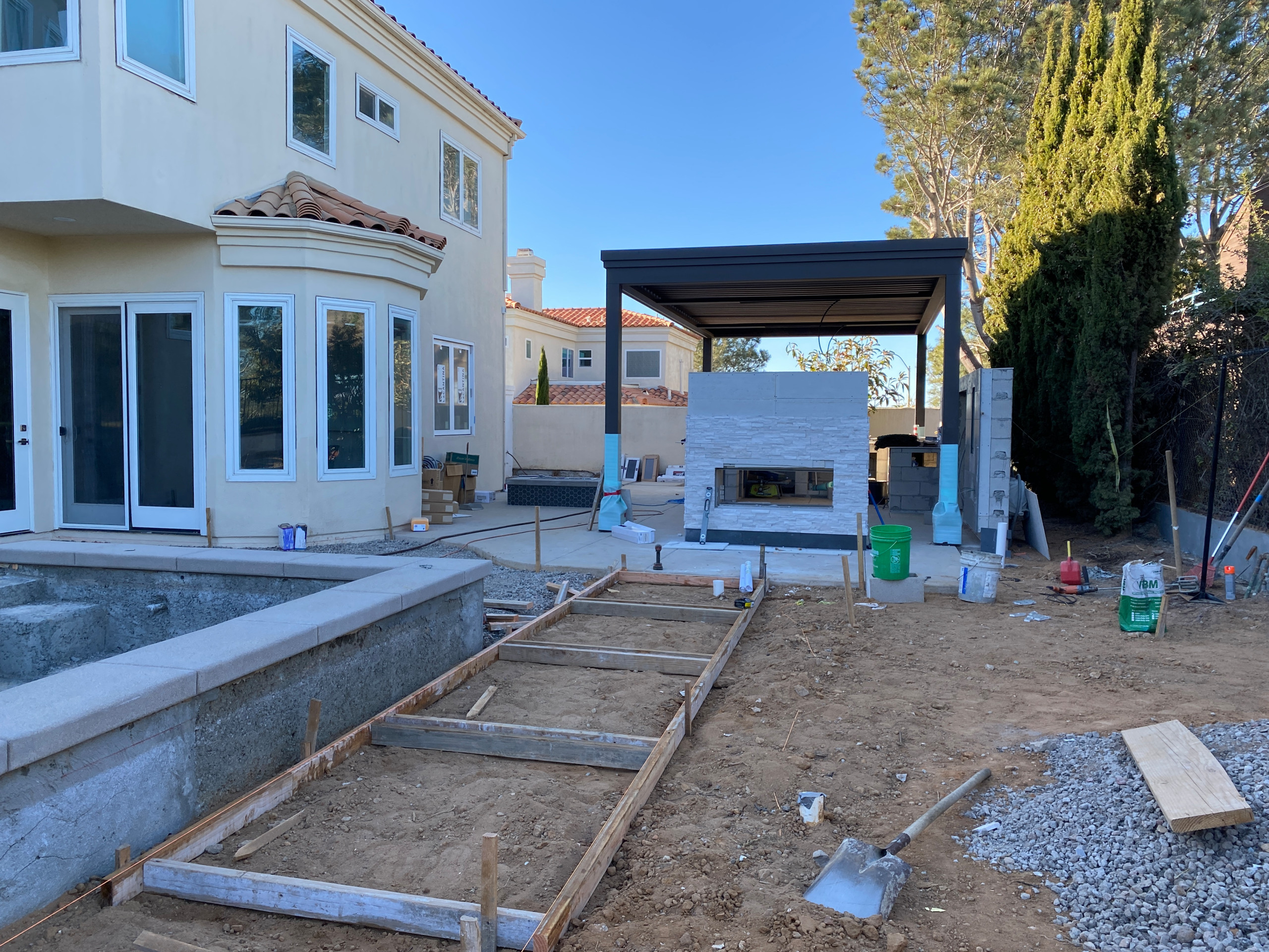 Concrete Pour and Fireplace Construction