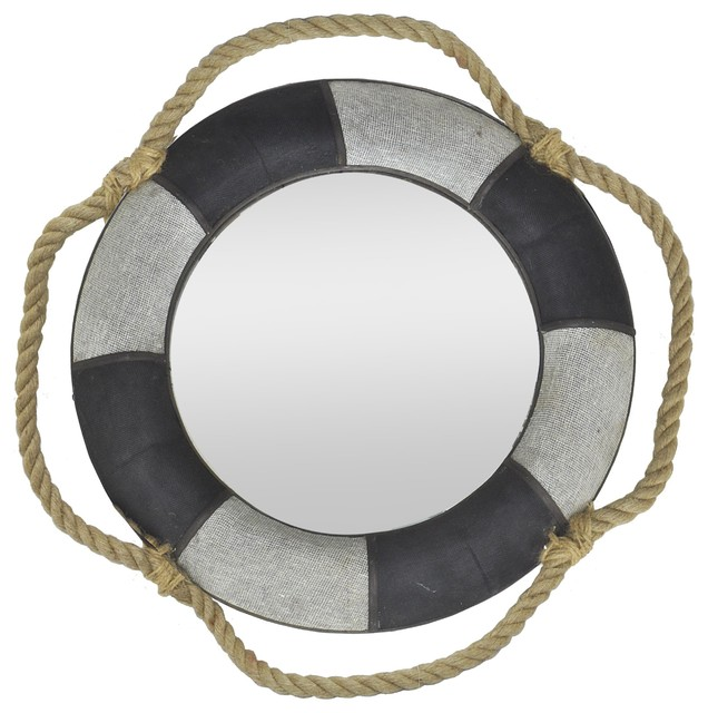 Porthole mirror with rope hanger beach style wall for Porthole style mirror