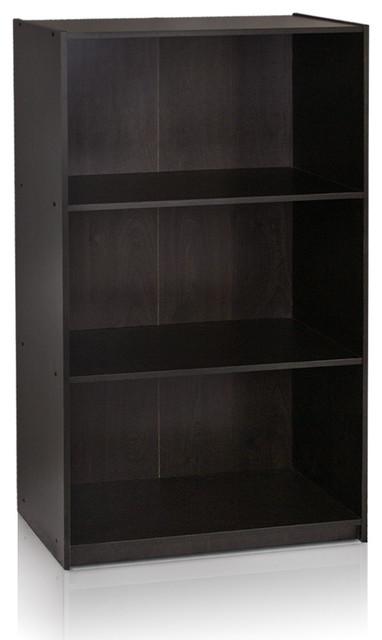 Furinno Basic 3-Tier Bookcase, Espresso.