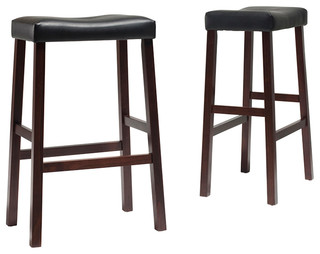 "Upholstered Saddle Seat Barstool, Vintage Mahogany, 29"" Seat Height, Set of 2"