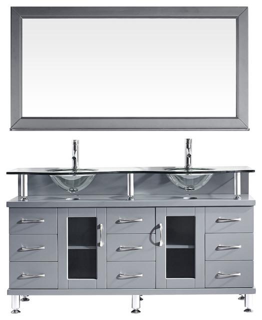 "Vincente Rocco 59"" Double Bathroom Vanity Set, Gray, Clear Glass Top."