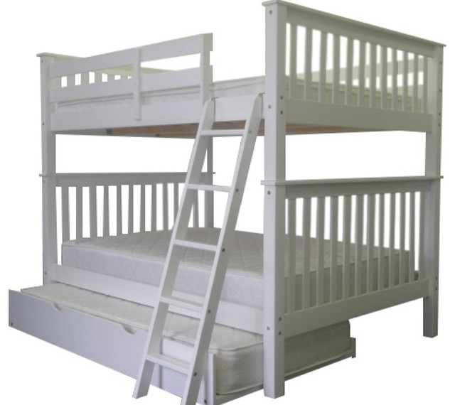 Full Over Full Bunk Bed With Twin Trundle White