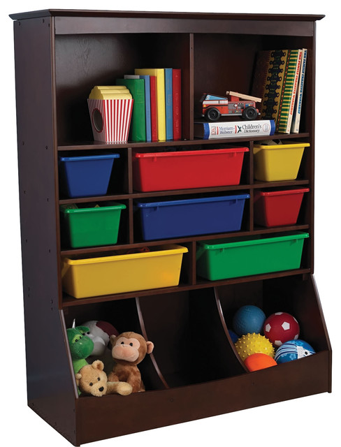Kidkraft Kids Room Decor Toy Book Gift Organizer Wall Storage Unit Espresso Contemporary