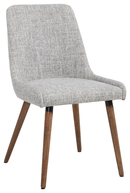 Fabric Side Chairs, Light Gray Midcentury Dining Chairs