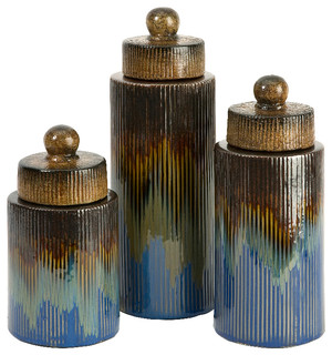 Frazier antique blue brown gold canisters set of 3 ceramic for Hearth and home designs canister set