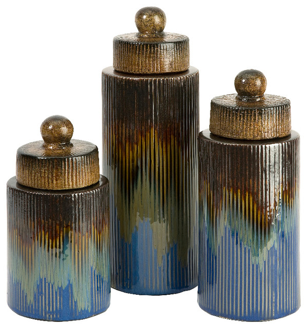Frazier Antique Blue Brown Gold Canisters Set Of 3 Ceramic Decor Traditional Kitchen Canisters