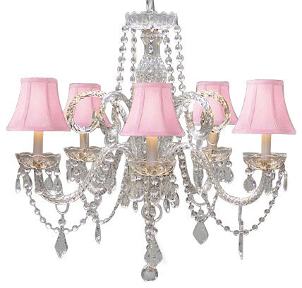 Crystal Chandelier With Shades, Pink
