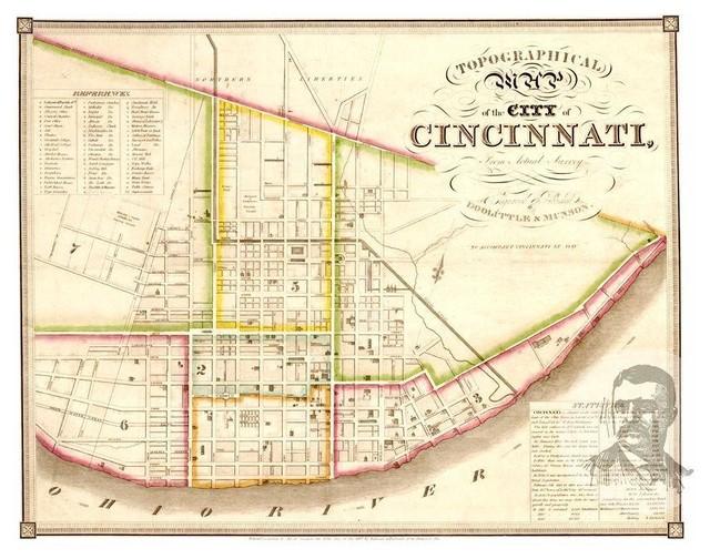 Historic Cincinnati, OH Map 1841, Vintage Ohio Art Print Decor ... on