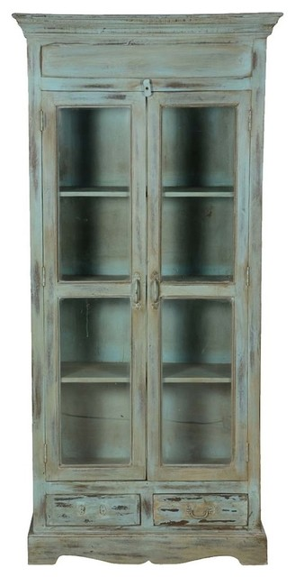 Tiro Blue Distressed Wood 4 Shelf Bookcase With Glass Doors Drawer Farmhouse Bookcases By Sierra Living Concepts