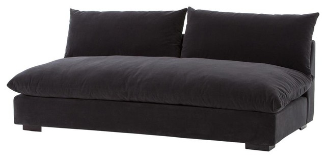 Grant Modern Charcoal Gray Single Cushion Armless Sofa 72\