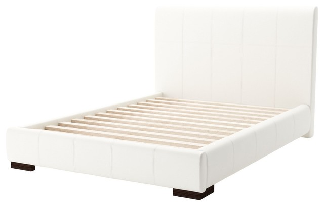 Modern Contemporary Full Size Platform Bed Frame White Faux Leather Plywood Contemporary Platform Beds By House Bound
