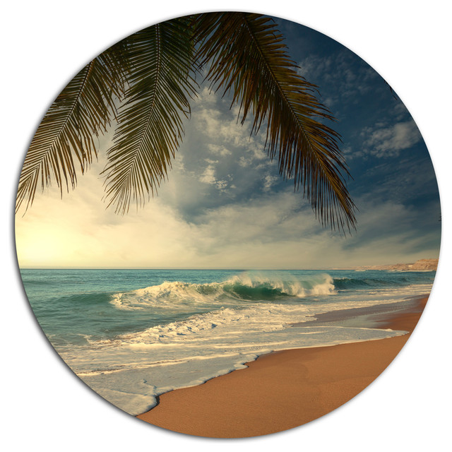 Palm Tree Metal Wall Art beautiful tropical beach with palms, beach disc metal wall art