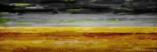 """the Desert At Night"" Print On Canvas, 60""x20""."