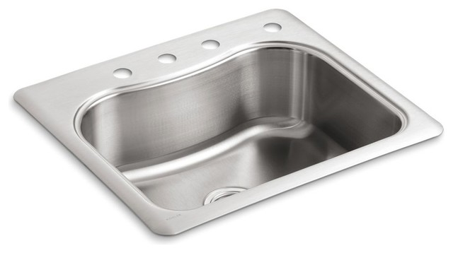 "Kohler Staccato Top-Mount Single-Bowl Kitchen Sink, 25""x22""x8.31""."