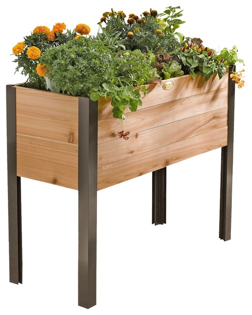 Standing Garden Planter, Without Casters Contemporary Outdoor Pots And  Planters