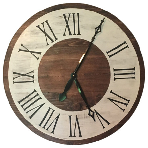 Handmade Large Rustic Painted 22 Wood Clock Farmhouse Wall