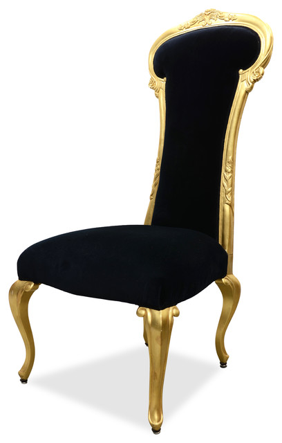 Dauphine High Back Baroque Dining Bedroom Chair Gold Leaf