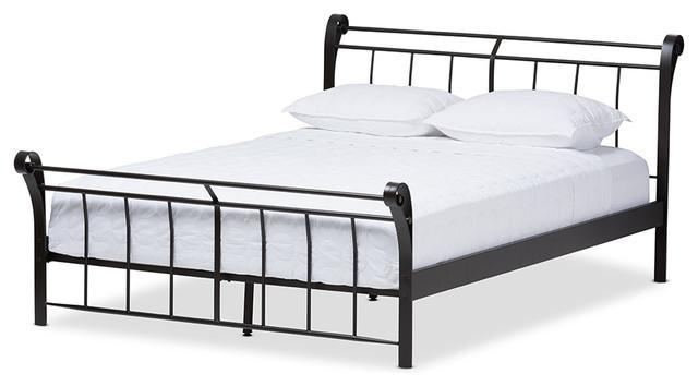 Sienna Vintage Industrial Black Finished Metal Full Size Platform Bed, Full.