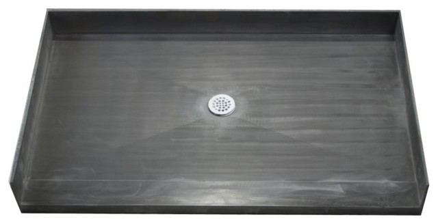 curbless shower pan linear drain tile systems liner