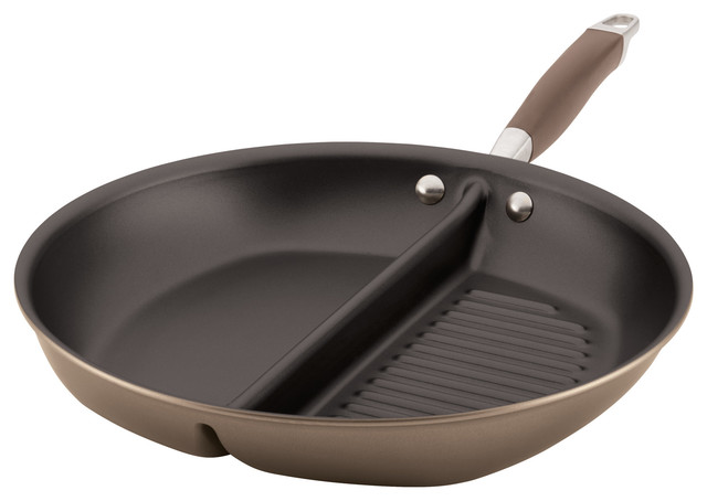 "Anolon Advanced Bronze Hard-Anodized Nonstick 12.5"" Divided Grill And Griddle."