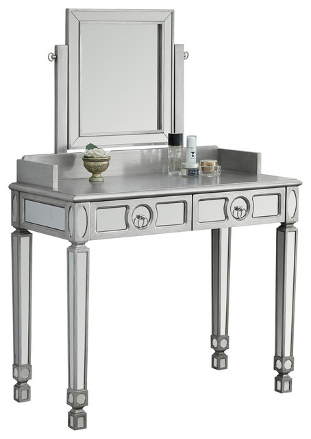 Vanity Brushed Silver Mirror With 2 Drawers