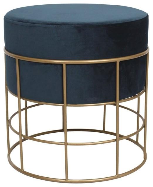 Tremendous 19 3 T Stool Brass Finished Iron Cage Base Soft Velvet Cushion Simple Elegance Machost Co Dining Chair Design Ideas Machostcouk