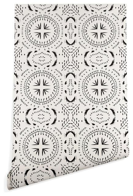 Deny Designs Holli Zollinger Mandala Tile Light Wallpaper, Black, 2&x27;x10&x27;.