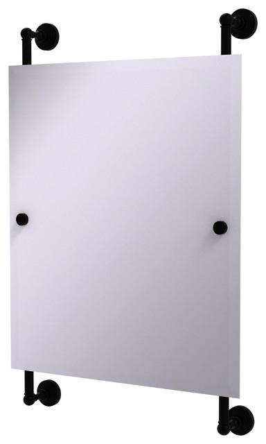 Waverly Place Rectangular Frameless Rail Mounted Mirror, Matte Black.