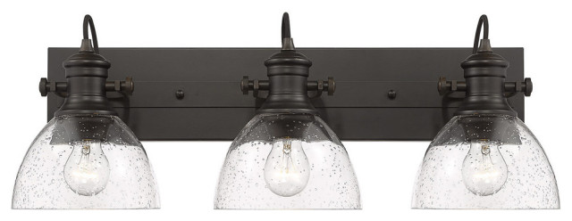 Hines 3-Light Bath Vanity, Pewter With Seeded Glass