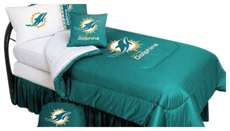 Miami Dolphins Bedding - NFL Comforter and Sheet Set Combo - Full